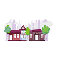 houses city urban town trees ecology scene vector image