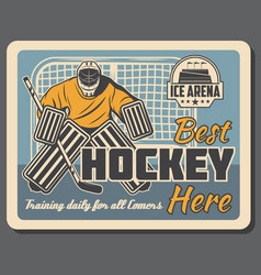 Ice hockey goalkeeper in gates on rink arena vector