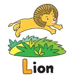 Little lion for ABC Alphabet L vector