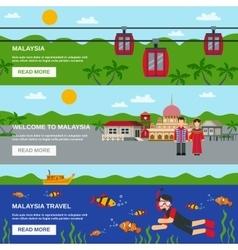 Malaysia culture 3 flat banners set design vector