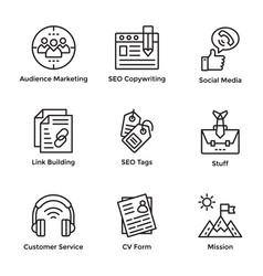 Market and economy line icons pack vector