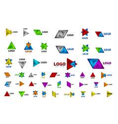 Mega set triangle icon geometric logo templates vector