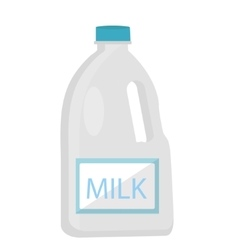 Milk in plastic bottles icon flat style Isolated vector image