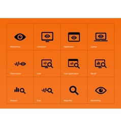 Monitoring icons on orange background vector image