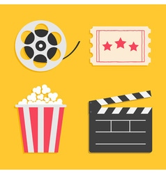 Movie reel open clapper board popcorn ticket vector