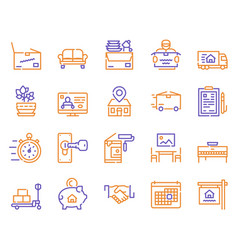 moving items color linear icons set vector image