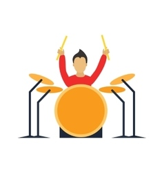 Musician drummer cartoon characters with guitar vector