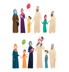 muslim family big arabic happy family saudi vector image