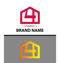 Number 4 logo logotype design with house vector image