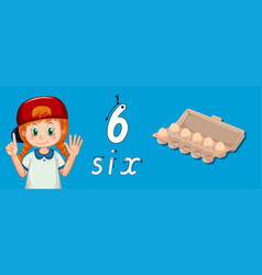 Number six writing tracing vector
