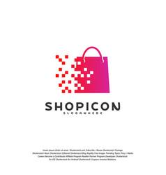 online shop store market logo template design vector image