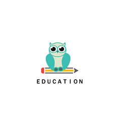owl pen education logo vector image