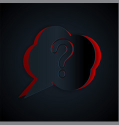 Paper cut speech bubble and question icon isolated vector