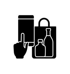 phone drinks ordering black glyph icon vector image