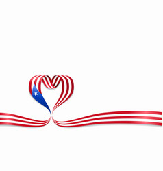 Puerto rican flag heart-shaped ribbon vector