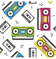 Retro cassette and radio recorder seamless pattern vector