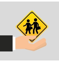 Road sign school zone icon vector