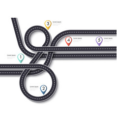 road trip and journey route winding road vector image