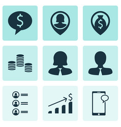 Set of 9 management icons includes successful vector