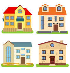 set of four private houses on a white background vector image