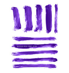 set of ultra violet watercolor brush strokes vector image