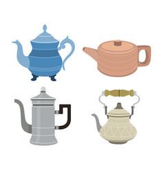 Set teapots flat design style vector