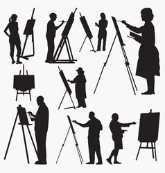 silhouettes artist vector image