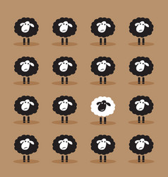 Single white sheep in black sheep group on brown vector