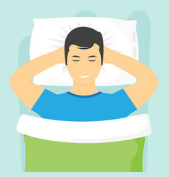 Sleeping man lying on a pillow and dreaming vector