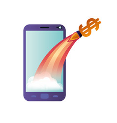 smartphone screen with flying rocket isolated icon vector image