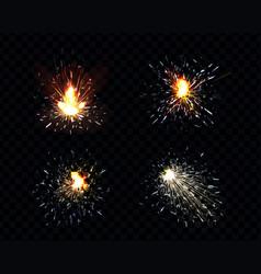 Sparks fire set sparkler petard weld or firework vector