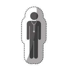 sticker monochrome silhouette pictogram doctor vector image