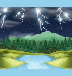 storm night nature scene vector image
