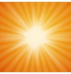 Summer sun burst on orange background vector image vector image