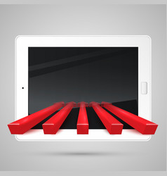 tablet and red arrows vector image
