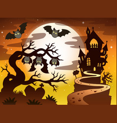 Theme with halloween silhouette 2 vector