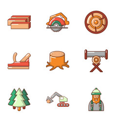 timber product icons set cartoon style vector image