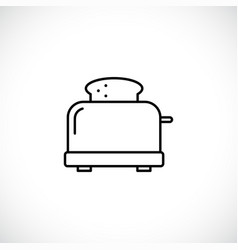 Toaster with bread line icon vector