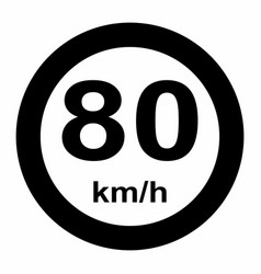 Traffic sign speed limit 80 vector