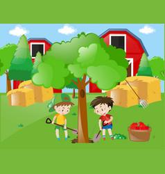 Two boys planting big tree in garden vector
