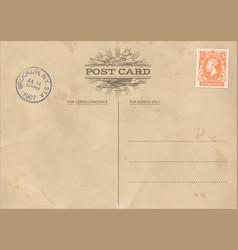 vintage postcard template vector image
