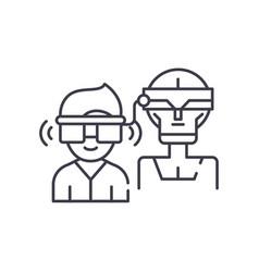 virtual artificial intelligence line icon concept vector image