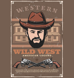 wild west western bandit saloon and pistol guns vector image