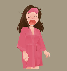 Woman in pink robe yawning vector