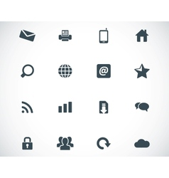 black internet icons set vector image vector image