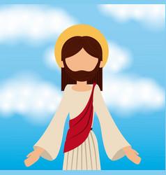 jesus christ ascension sky background vector image