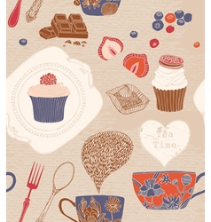 Seamless pattern Cups cakes vector image vector image