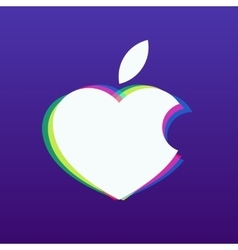 white apple in the shape of heart on a vector image