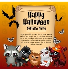 Card happy Halloween and inhabitants of the forest vector image