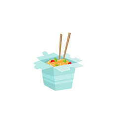 chinese japanese noodle in box with chopsticks vector image